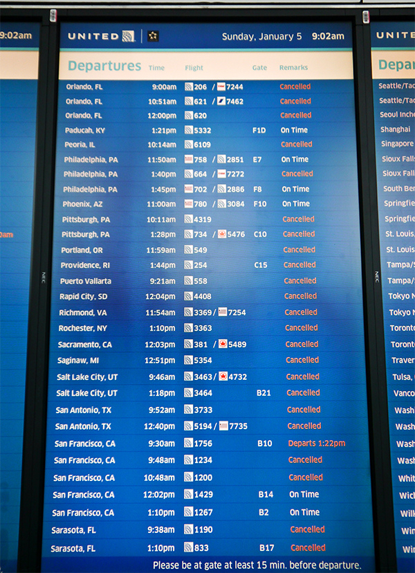 Rough day at the airport? United hopes to make it better with a new computer system that will rebook you when your flight is canceled.  Jassy-50 /Flickr.