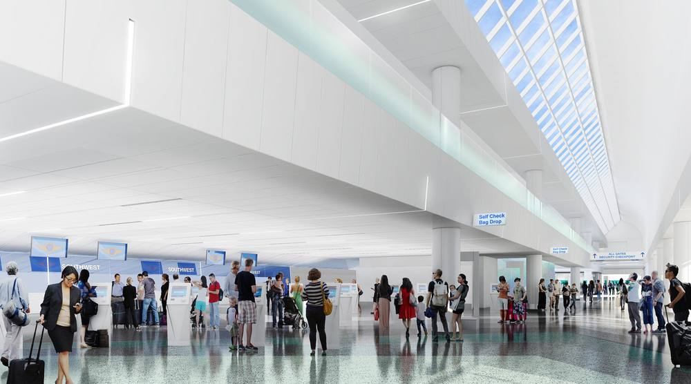Southwest's new ticketing lobby opens next year. Rendering: Southwest.