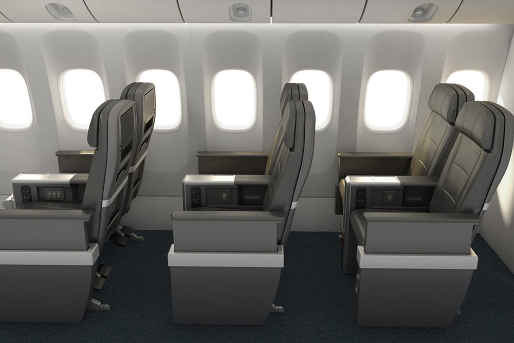 American's new long-haul premium economy. Rendering: American Airlines.