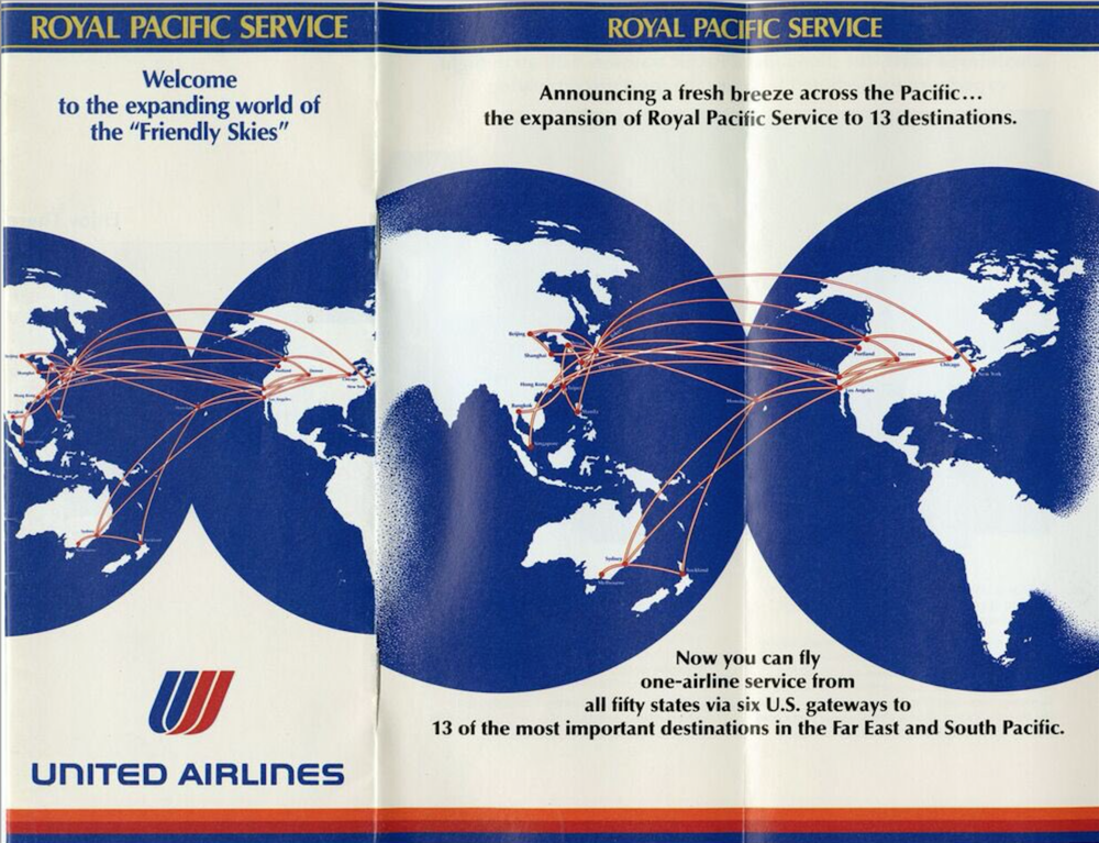 United Airlines hardly flew at to Asia before February 1986. Photo: United Airlines.