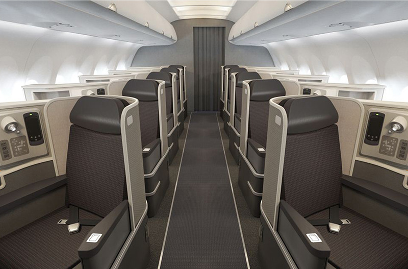 American's first class on the A321T takes up a lot of space. Photo: American.