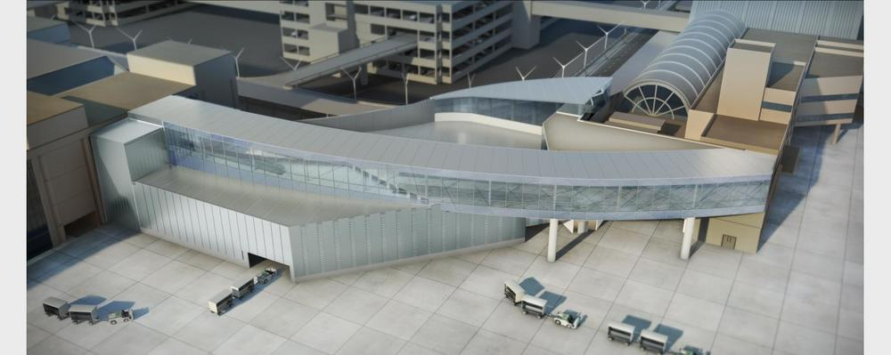 A new connector between Terminal 4 and the Tom Bradley International Terminal is opening at LAX. Renderings: Corgan.