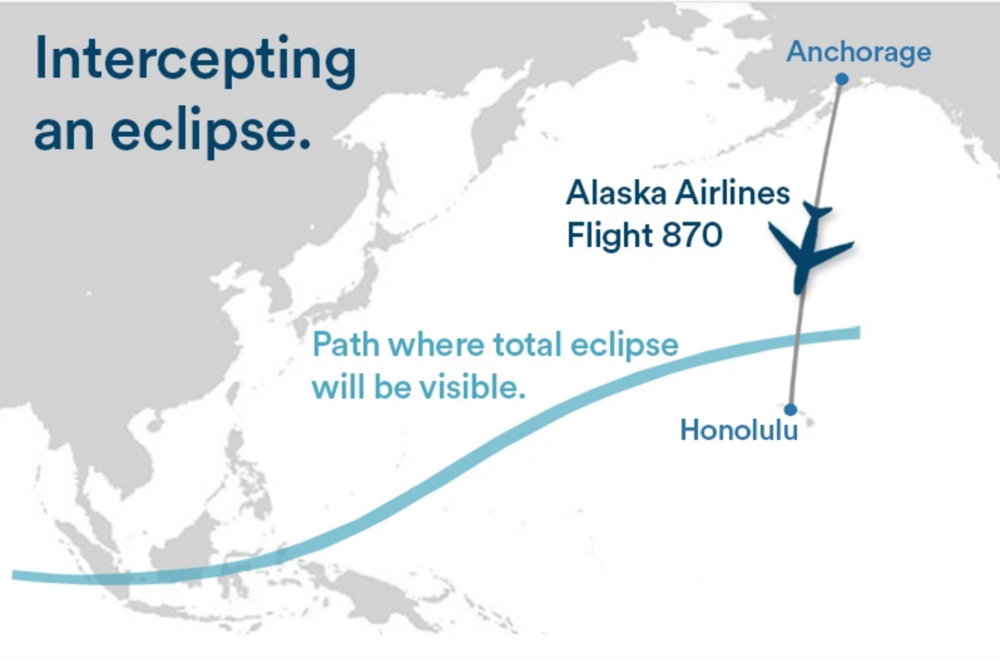 Passengers on one Alaska Airlines flight will be able to watch a solar eclipse. Illustration: Alaska Airlines.