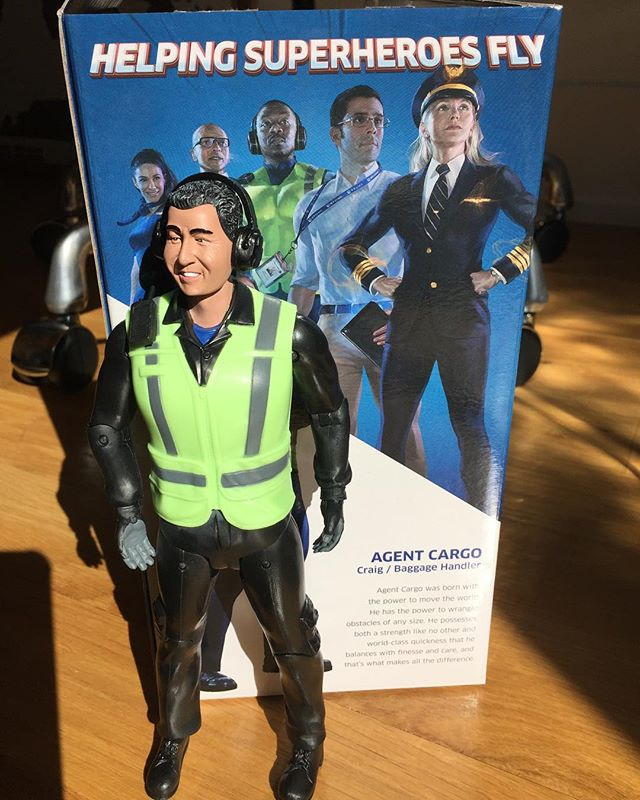 """I get a lot of swag and most I give away. But I'm keeping him, even though @katiesumers has called him my """"toy"""" and my """"doll."""" Cool idea, @united."""