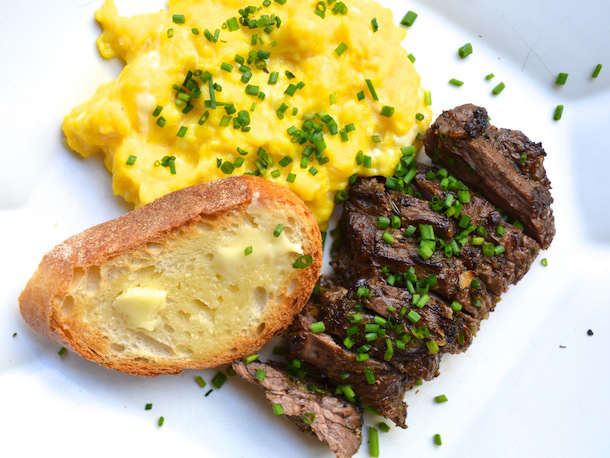 STEAK AND EGGS Organic eggs paired with locally sourced steak; marinated with (something fancy). $13.99