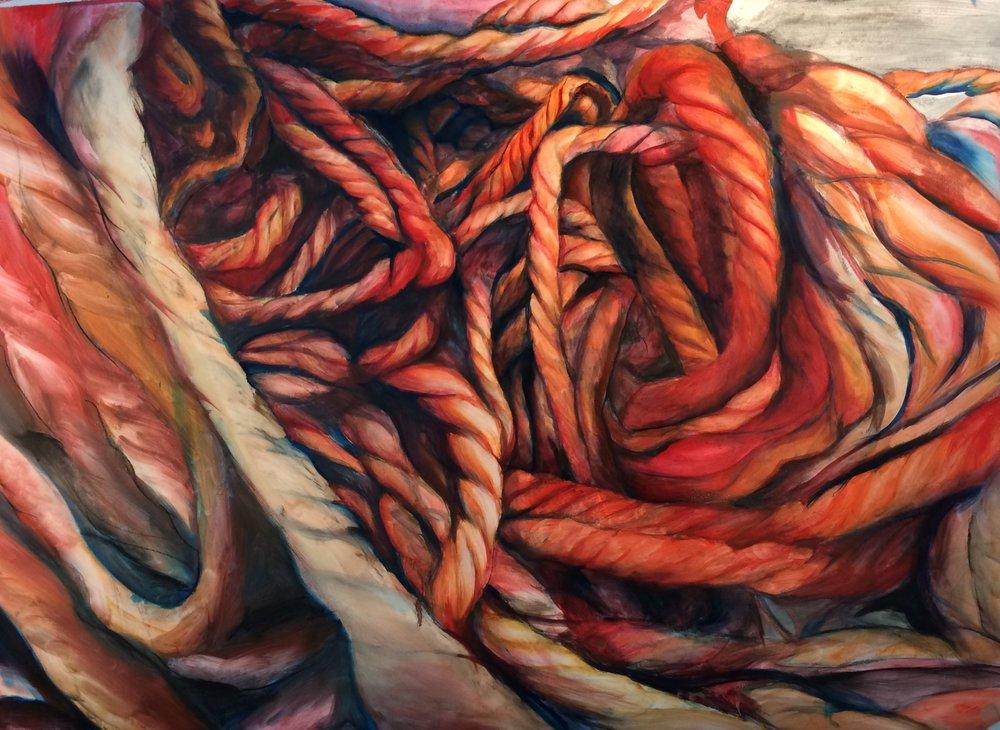 "oil, graphite, charcoal on paper, 24"" x 36""  #painting #oaklandart #studiotime"