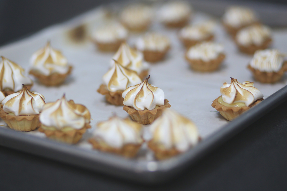 mini key lime tart with toasted meringue