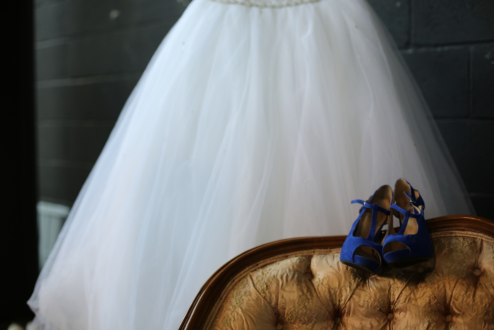 nothing like blue suede pumps to make a bride feel ready to dance
