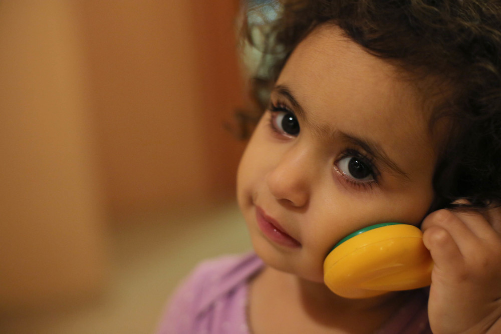 Hello? This is sweet cute baby calling, do you need a hug?