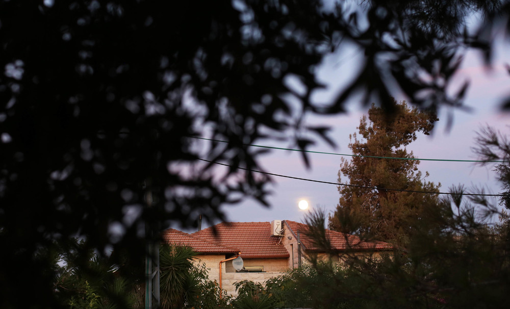 a full moon rises over rooftops and greets us on the balcony at his parents' house