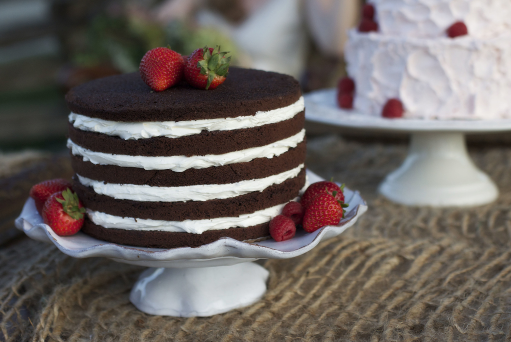 a chocolate naked layer cake