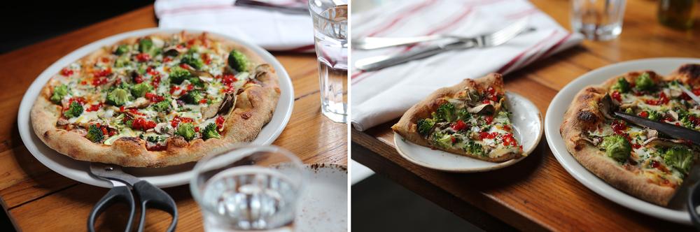 vegetable:mozzarella, broccoli, peppers,mushrooms, zucchini, squash, goat cheese cream