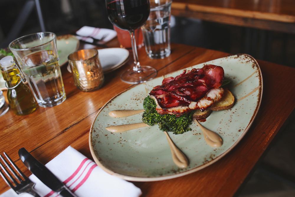 veal saltimbocca: prosciutto, provolone, sage, mushroom purée, broccolini, sage potatoes
