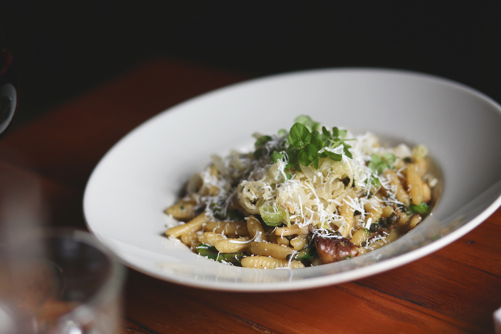 ricotta cavatelli: asparagus, artichokes, local shrooms, capers, leeks, parmesan, white wine
