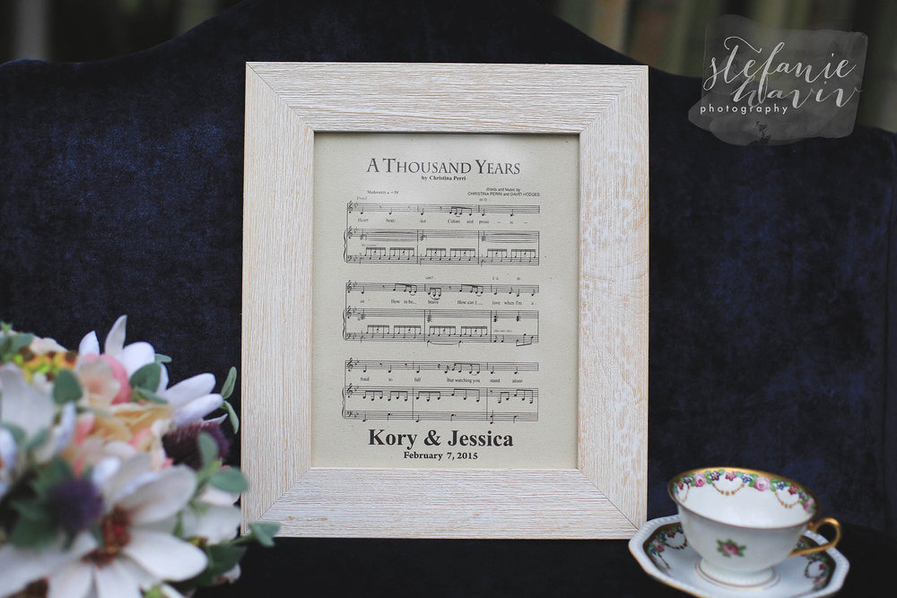 Following the Anniversary tradition of giving cotton for the second year, Kory had their wedding song printed on cotton and framed as a gift. #swoon