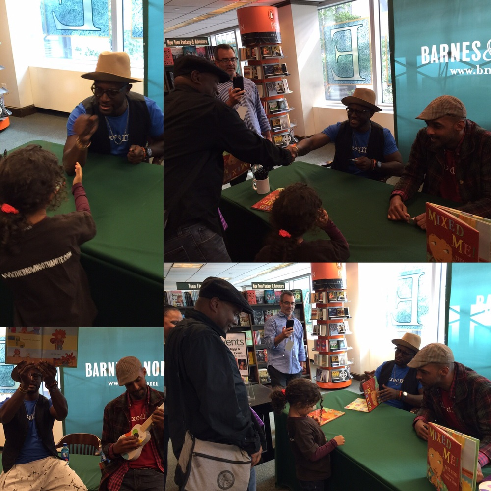 Camilla and I went to a Mixed Me reading and signing and met Taye Diggs and Shane Evans, who loved Camilla's Brown Gothamite shirt!