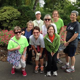 Walk leader Ann (far left) with a group at Bush's Pasture Park