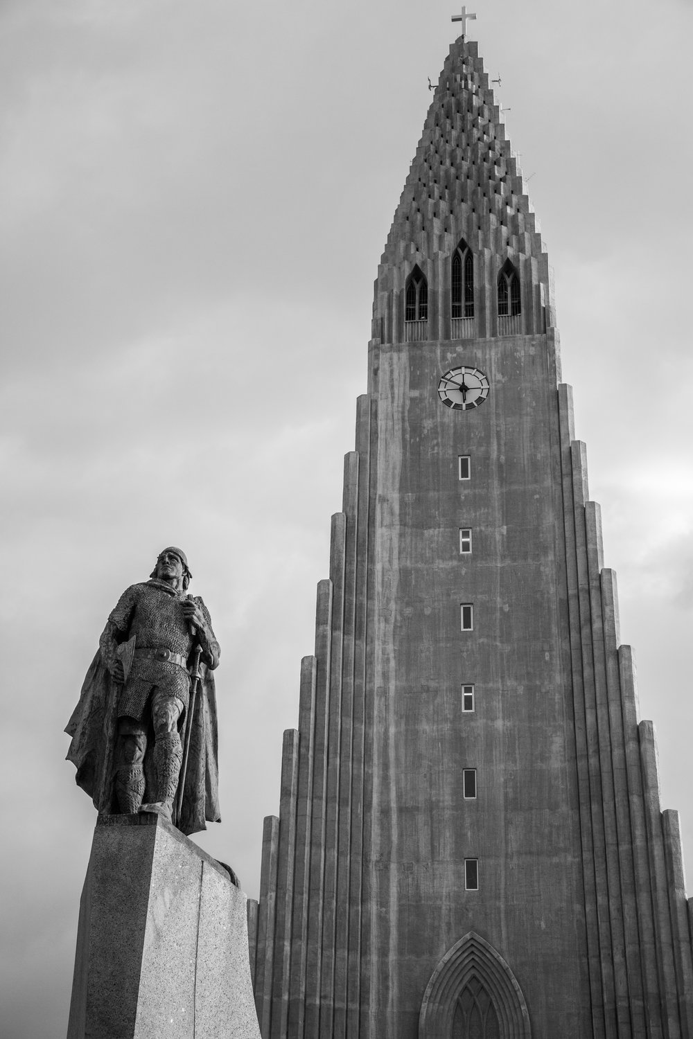 Leif Eriksson's statue outside of Hallgrimskirkja; given as a gift by the United States in 1930 to commemorate  the Icelandic Parliament's 1000 year anniversary.