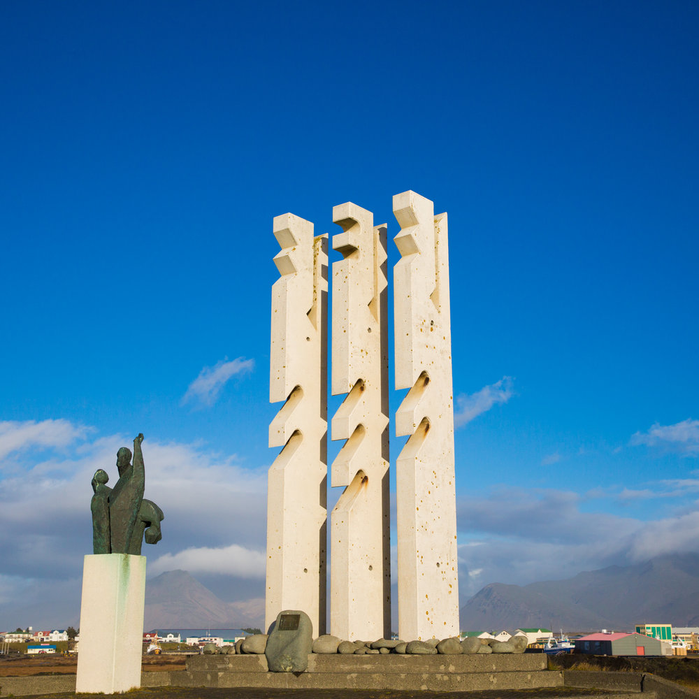 Hofn is a fishing village of roughly 2100 people. Above is the Seamen's Monument, to pay tribute to those lost at sea.