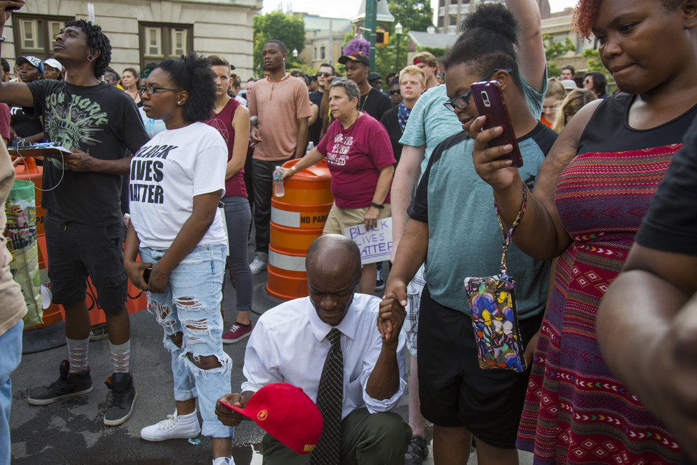 The local chapter of Black Lives Matter organized a march and a demonstration in downtown Syracuse, New York on Monday July 18, 2016.