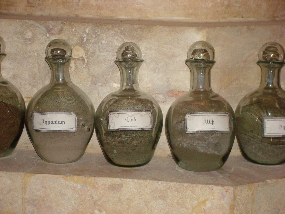 Jars of soil on display from different Armenian localities From historic Armenia in Deir Zor