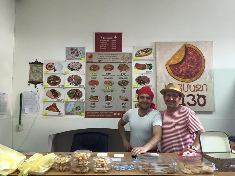 Gaidz, who has escaped war torn Aleppo, Syria with his family set up a successful bakery in Yerevan, Armenia called Lahmajun Gaidz (photo credit: Zanku Armenian)