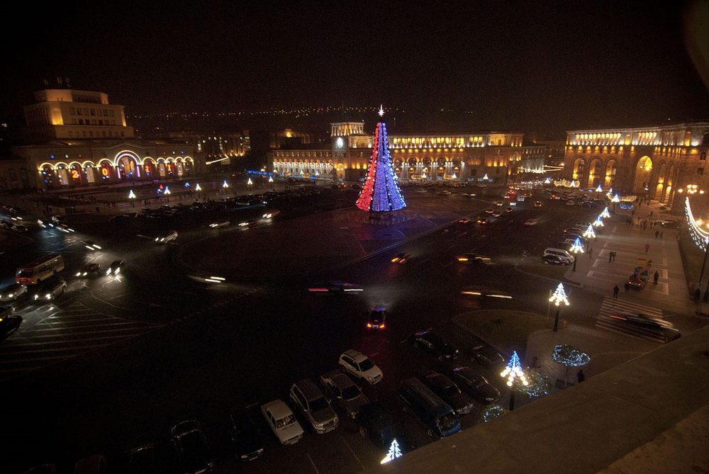 Republic Square in Yerevan, Armenia during the holiday Season. Photo credit Nazik Armenakian on assignment for the Armenian Redwood Project