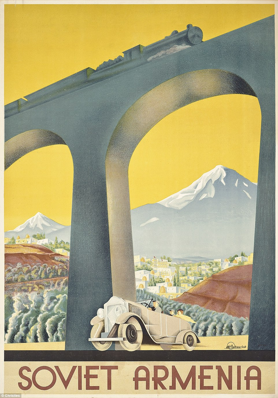 "Classic Soviet ARMENIA Intourist vintage poster by Sergey Igumnov, is believed to have been commissioned in 1936.  Intourist rightfully understood that the prevailing European artistic trend of Art Deco design would be more appealing to potential tourists than Social Realism. ""The image of Soviet Armenia communicated here is a glamorous and varied one. The train and the car in the foreground boast the advanced modern machinery of the period, and the high railway bridge is an example of Soviet engineering skills. The beauty of the country's natural landscape is shown in the background. The poster creates an image of glamorous tourism, and is similar to travel posters produced in western Europe at the time"" (Victoria & Albert Museum, vam.ac.uk). This is the English version. Intourist pl. 29 (var), Tourism p. 113, Crouse p. 303 (var), Affiches Art Deco p. 111."