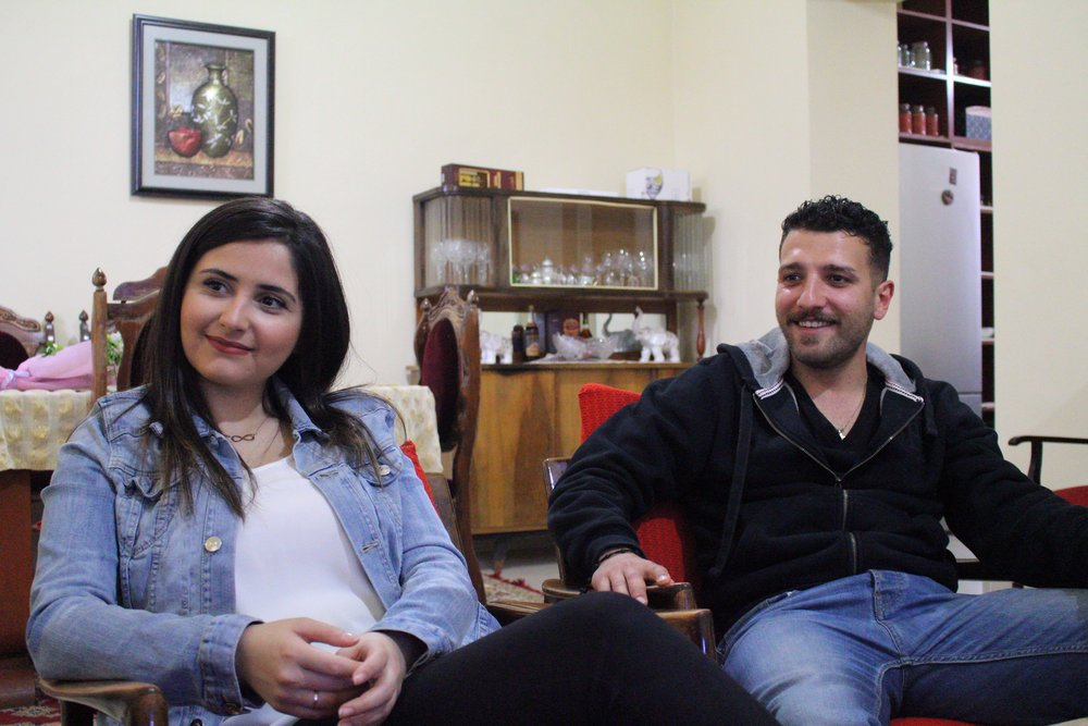 Talar Zakarian(from Kamisli, Syria) and Hovik Aroyan(from Tartous, Syria) in their home in Ashtarak.   Photo credit James Aram Elliot on assignment for the ARP, 2017.