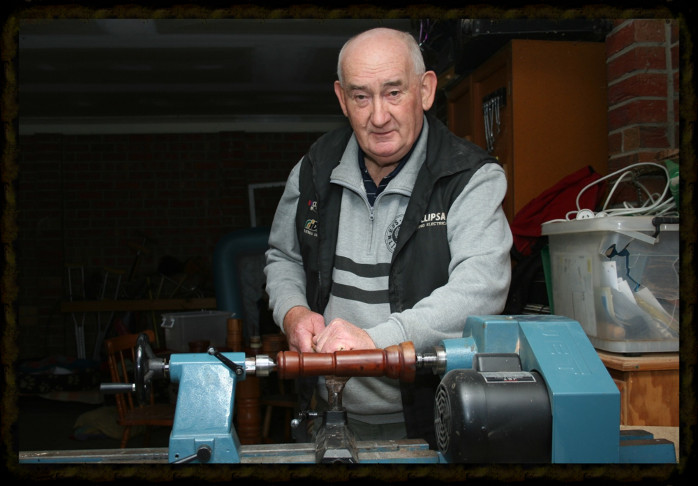 Mick and his lathe. Micks' wood turning hobby has resulted in some beautiful hatstands and bowls.  mlonnie48@gmail.com