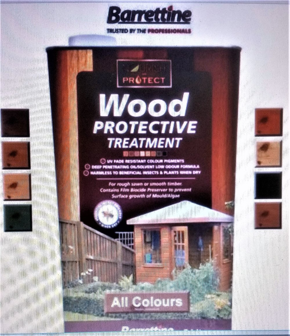 Highly recommended.   garden shed wood protective treatment. - For rough sawn or smooth timber. Contains film biocide Preserver to prevent the surface growth of Mould/Algae.Ideal wood treatment for outdoor timber structures such as Sheds, Fences, Trellis, Pergola and timber Gazeboes. Provides excellent water repellency/beading. Oil / Solvent based for deeper penetration leaving a transparent/translucent finish colour effect to wood, where the grain texture is still visible.click image to link to Barretine pro for more products and information..