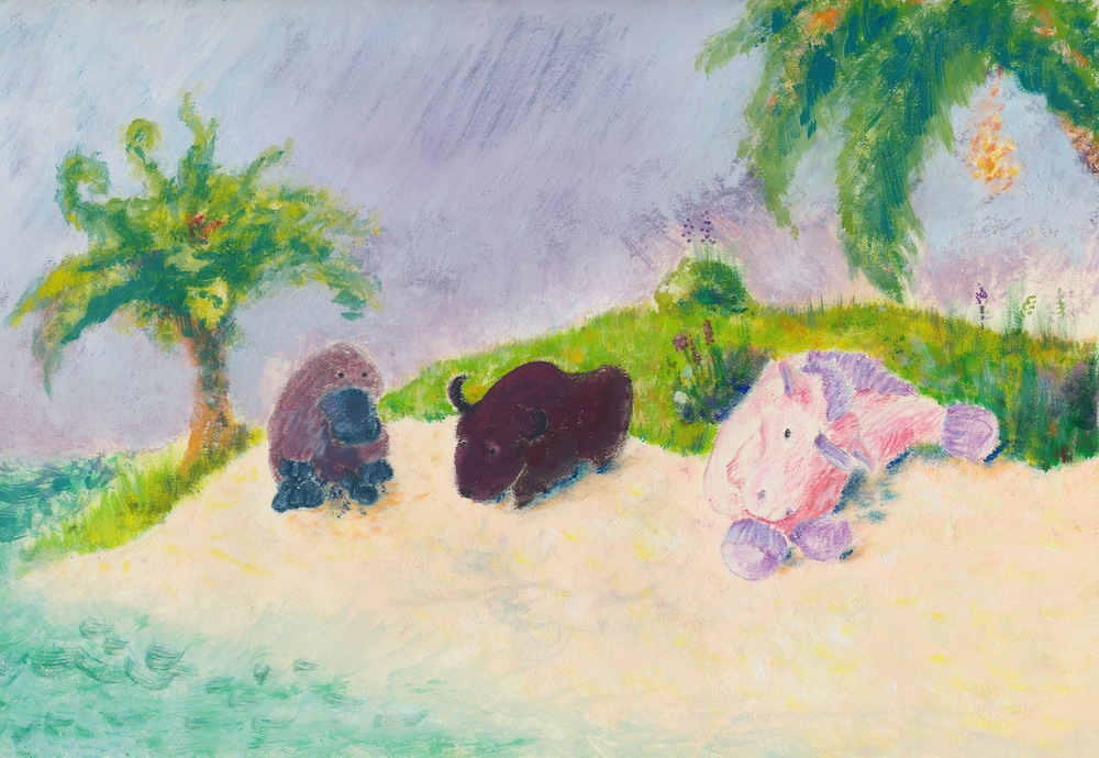 "3 friends on a beach, book cover idea, 8.5 x 11"", 2014"
