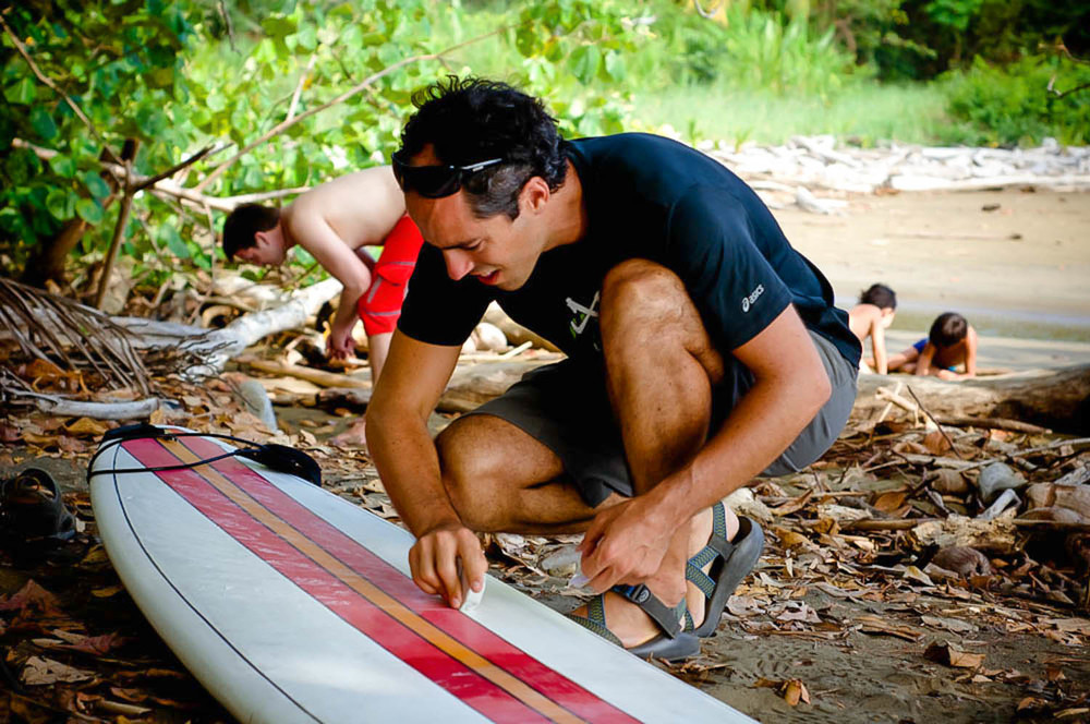 Surfing prep at Playa Arco, Costa Rica