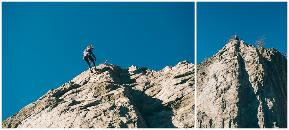 Left: Ellie coming down after having climbed a 5.9. Right: Karl and Jennifer setting up the belay on top of the route.