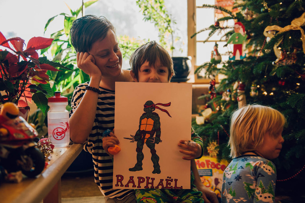 Aisha drew a Ninja turtle for Raphael.
