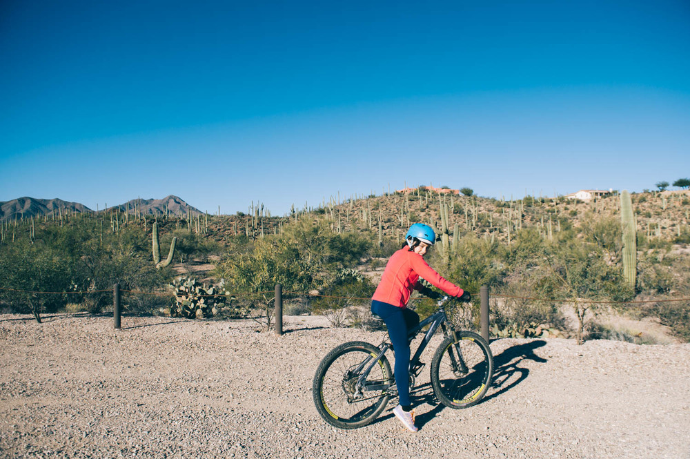 Sweetwater trailhead. Awesome bike trails among the saguaros.