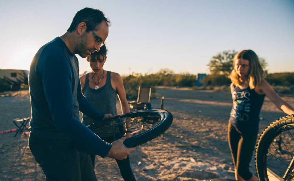 JF was teaching us how to change a flat tire... because it happens a lot in the desert!