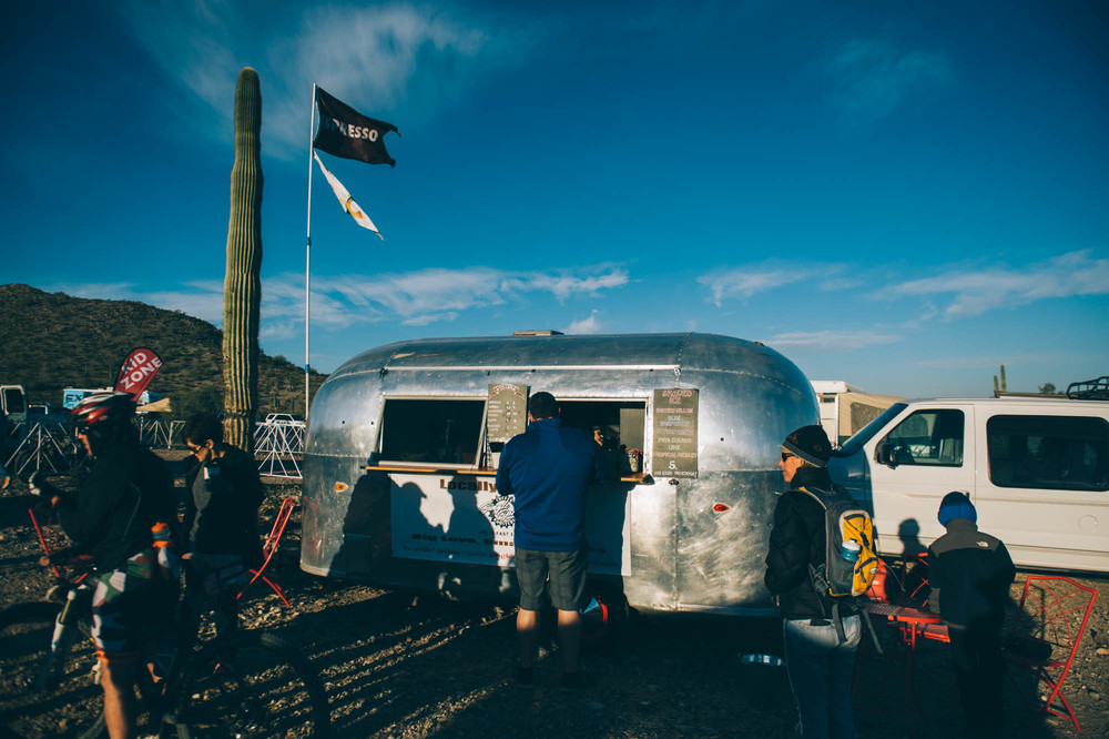 An Airstream turned into a coffee shop was selling local coffee on site.