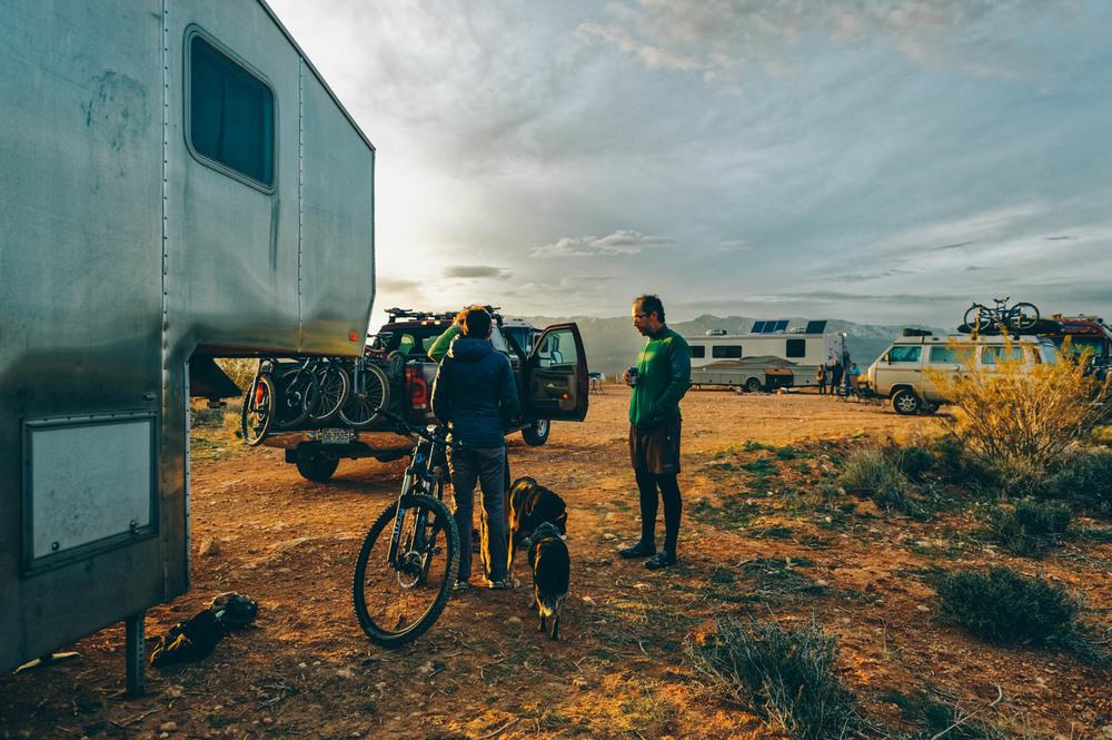 Post-bike ride beer at sunset at camp