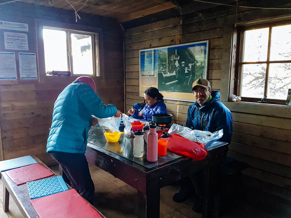 Breakfast inside the Happy Camp cooking shelter.