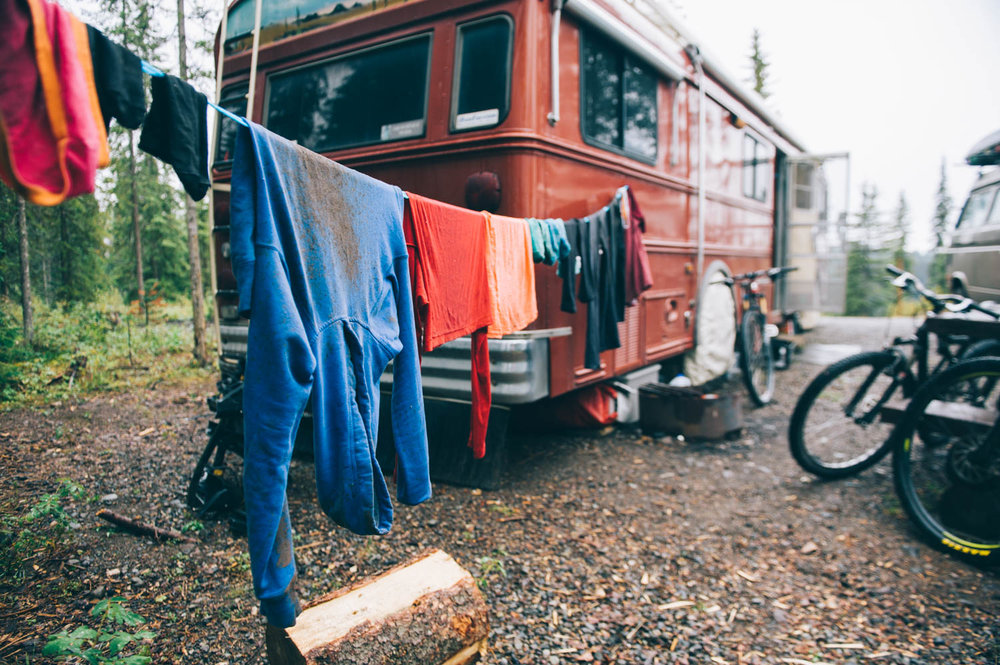 Lots and lots of dirty laundry. We rode in the mud for 3 days!