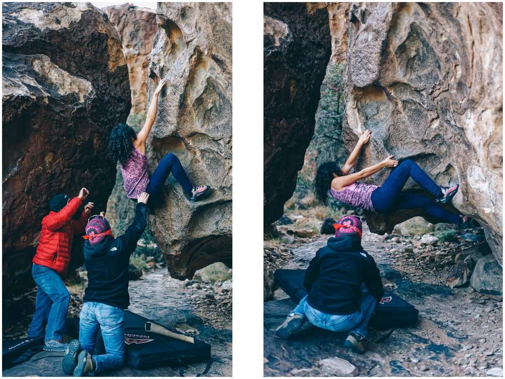 Mara working on a tough V5 problem (and she got it!!).