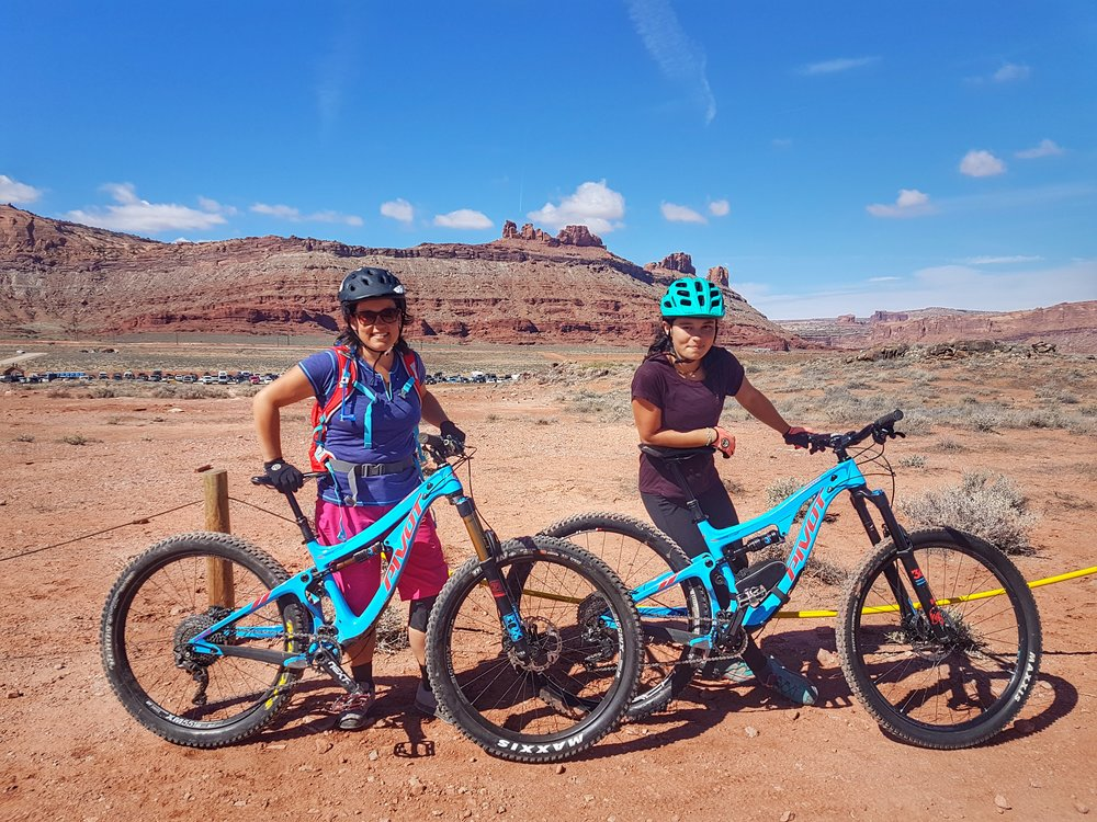 Demoing bikes at the Outerbike festival. Riding North 40 in the Moab Brand (Bar M) trail system.