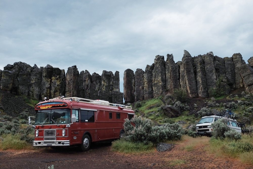 Our beautiful camping spot at Frenchman Coulee, Vantage, WA. These are climbing towers you see at the back. They are called The Feathers (or the French Fries). I could see people climbing from my bed! In a few hours, we climbed 6 routes in this sector and another one on Agathla Tower.