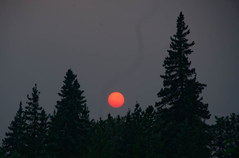 The Blood Sun (yes, that's the sun!) created by the smoke from the forest fires.