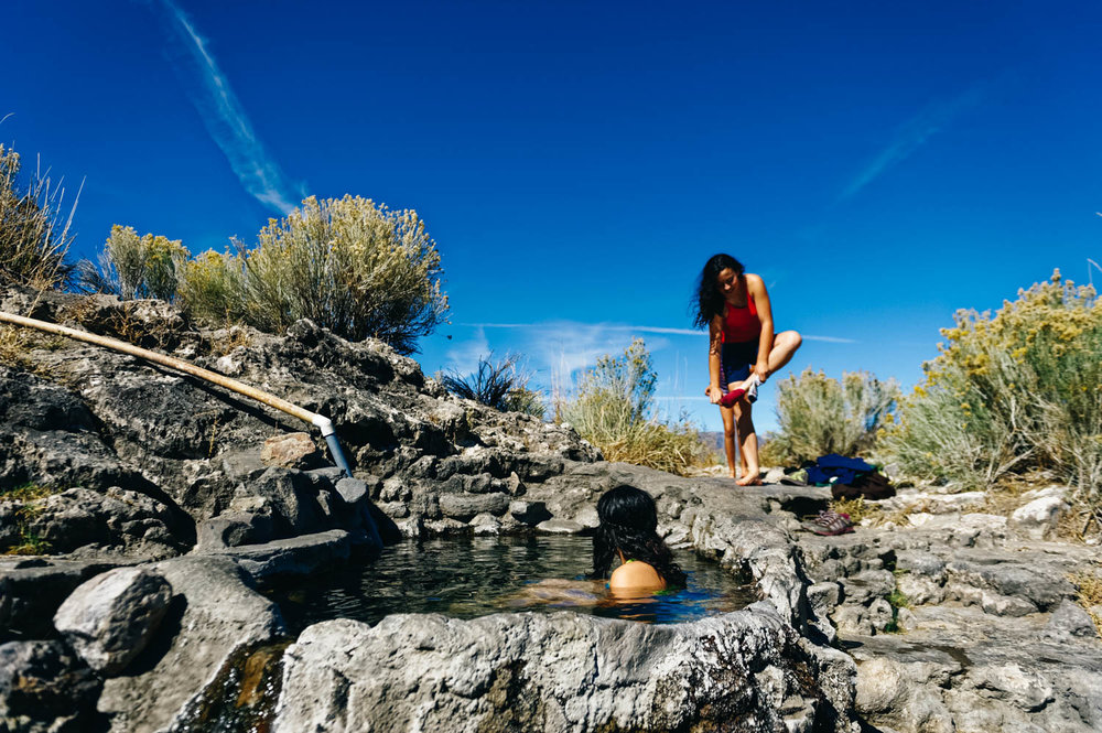 Rock tub hot springs.
