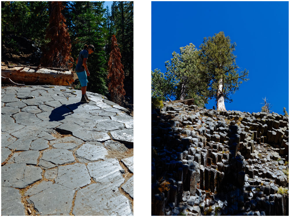 Devil's Postpile seen from above (left) and another cool basalt columns formation from the area on the right.