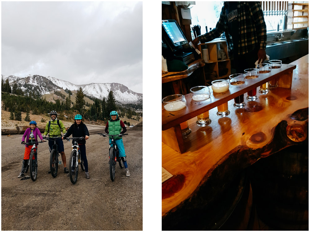 We rode many times at Mammoth Mountain even if the bike park was officially closed for the season (no lifts), the trails remained open. It is at 9,000 feet in altitude and it was pretty cold. That's the day it was 3 degrees C (35 F). We ended our day at the Mammoth Brewery. Delicious beer and food. Don't miss it if you are in the area.