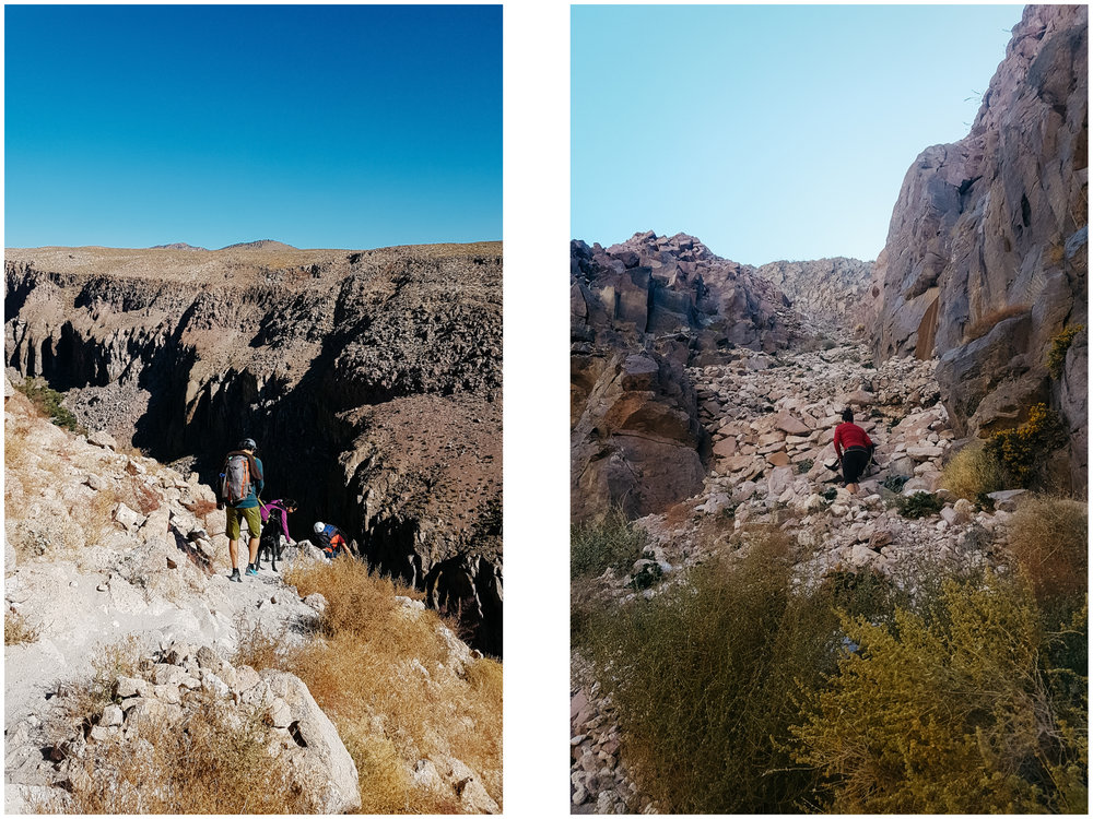 The class 3 scramble approach to get to the crag at Owen River Gorge was quite something with big packs and a big dog!