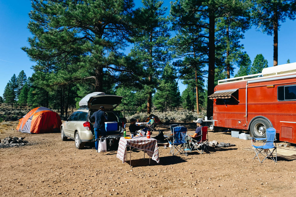 Our beautiful campsite in the National Forest near the South Entrance of the Grand Canyon.